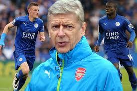 L'avant centre de Leicester, Vardy et le Français Kanté, deux joueurs convoités par Wenger sans succès